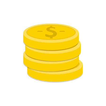 Stack of coins vector illustration with flat design isolated on white background