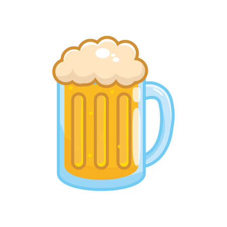 Glass of beer vector illustration isolated on white background. Beer clip art