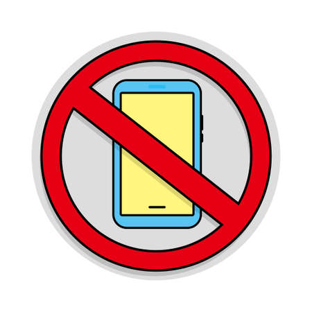 No mobile phone sign vector illustration. Prohibition to use mobile phone
