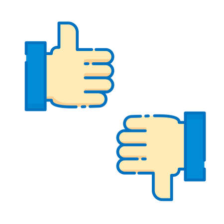 Like and dislike sign. Like and dislike hand gesture vector illustration isolated on white background