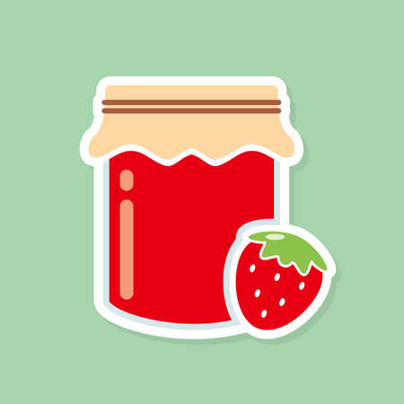 Strawberry jam in the jar vector illustration