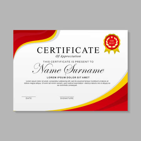 Modern certificate template design with red and white color Ilustração