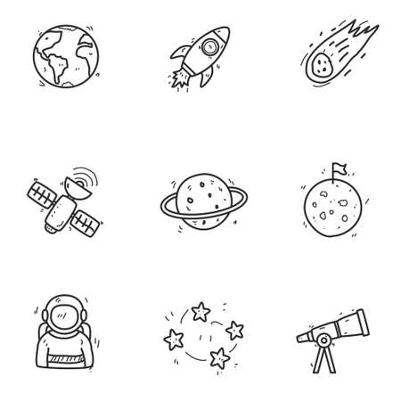 Set of astronomy doodle icons in cute hand drawn design isolated on white background Ilustração