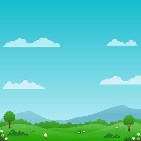 Schöne Naturlandschaftsvektorillustration mit hellem Himmel, grüner Wiese und Blumen passend für Sommerhintergrund oder Kinderhintergrund