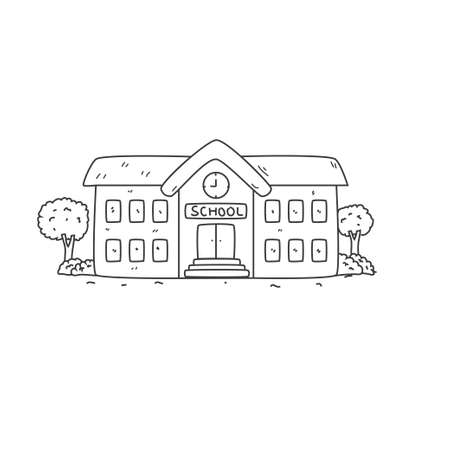 School building vector illustration in hand drawn style suitable for coloring book