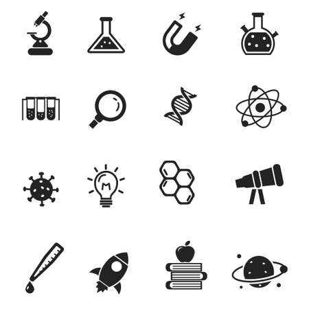 Set of science icons in black design such as microscope, flask, magnet and more, isolated on white background