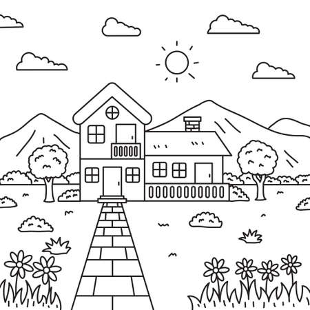House with flowers and mountain vector illustration in line art style suitable for kids coloring page