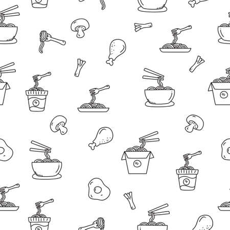 Noodle seamless pattern in cute doodle style vector illustration suitable for background