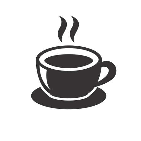 Cup of coffee vector illustration in black design isolated on white background. Coffee icon