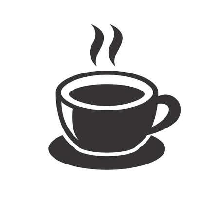Tasse d'illustration vectorielle de café au design noir isolé sur fond blanc. Icône de café