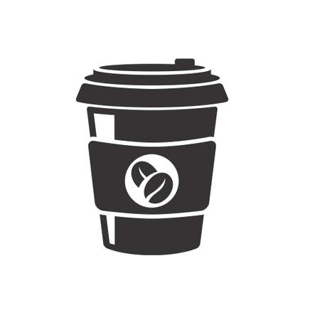 Disposable coffee cup vector illustration in black and white design. Coffee icon