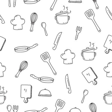 Cute utensils seamless doodle pattern in hand drawn style suitable for background Vector Illustratie