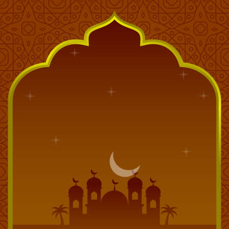 Islamic template background with mosque silhouette and orange color suitable for ramadan card