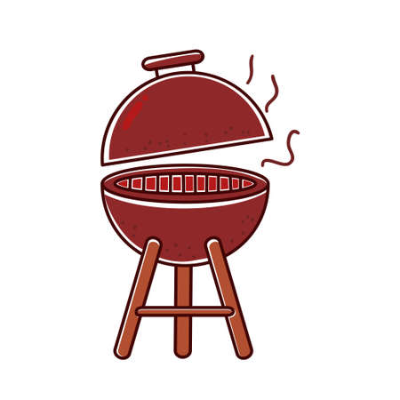 Grill vector illustration in colorful hand drawn style isolated on white background Stock Illustratie