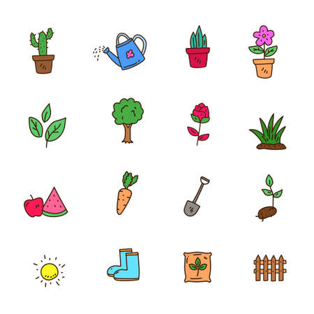 Colorful plant doodle collection in cute hand drawn style isolated on white background Stock Illustratie