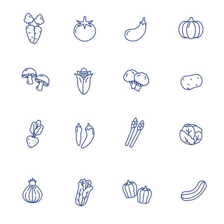 Vegetable icons collection in simple line design with blue color isolated on white background 版權商用圖片 - 149456823