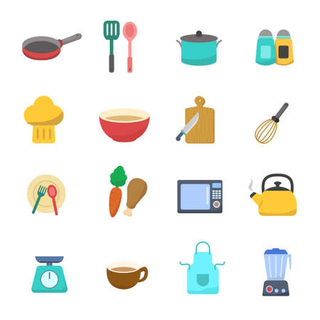 Set of kitchen related vector illustration in flat design isolated on white background