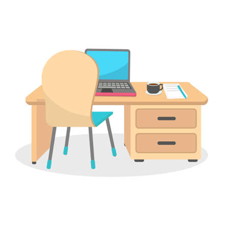 Office desk with laptop, paper and coffee on the table vector illustration