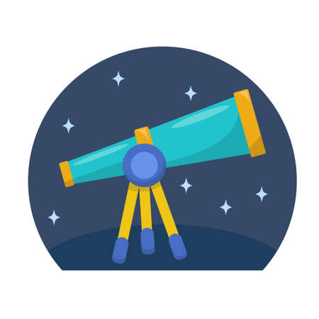 Telescope vector illustration in flat design isolated on white background Ilustração