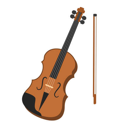 Violin vector illustration in flat design isolated on white background  イラスト・ベクター素材