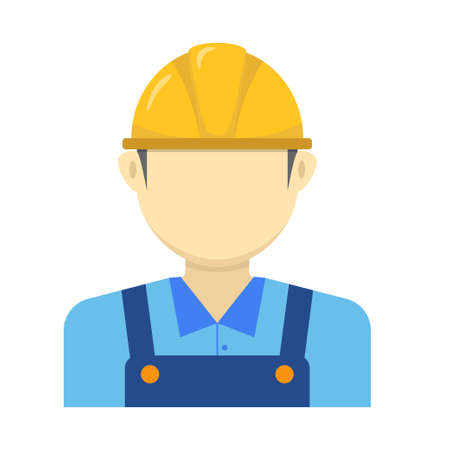 Construction worker avatar icon in flat design isolated on white background