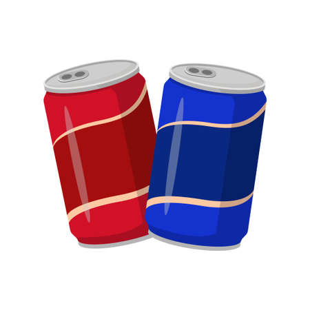 Two soda can with red and blue color    vector illustration in flat design isolated on white background
