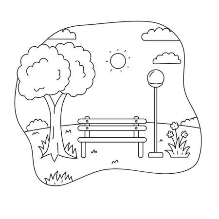 Park vector illustration draw in line sketch design suitable for coloring page