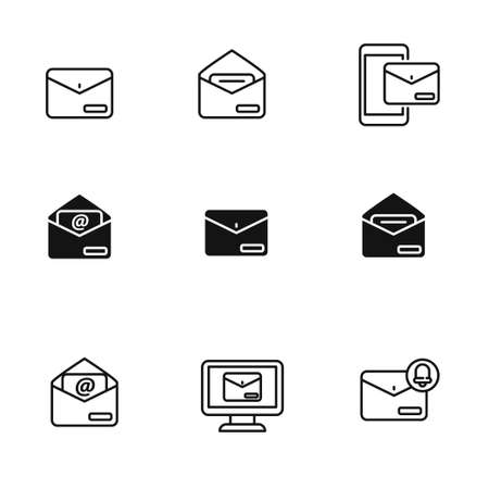 Mail icons collection draw in outline and black design isolated on white background. Simple mail vector illustration