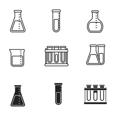 Set of erlenmeyer flask and laboratory tube icons draw with line and black design isolated on white background Vectores