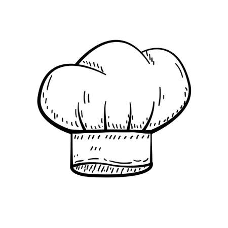 Chef hat vector illustration in hand drawn sketch design isolated on white background  イラスト・ベクター素材