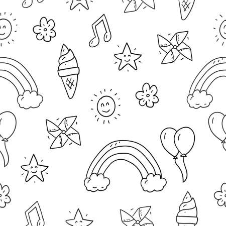 Miscellaneous doodle pattern with fun theme suitable for kids background