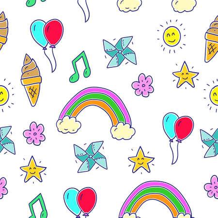 Colorful miscellaneous doodle pattern with fun theme suitable for kids background Ilustração