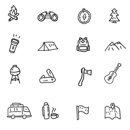 Set of camping related icons draw in doodle style isolated on white