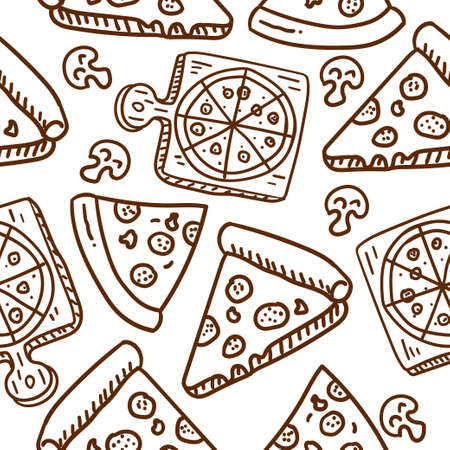 Pizza seamless pattern draw in doodle style with brown color suitable for background or wallpaper