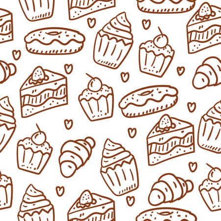 Cakes seamless pattern draw with doodle pattern with brown style suitable for background and wallpaper Illustration