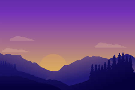 Beautiful sunset at mountain landscape scene vector illustration with minimalist design and purple color suitable for background or wallpaper
