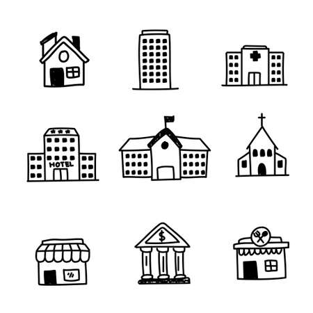Set of buildings doodle icon with black design isolated on white background Ilustración de vector
