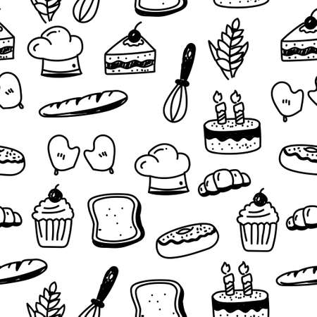 Seamless bakery doodle pattern with black color. Set of bakery and cooking related doodle vector illustration