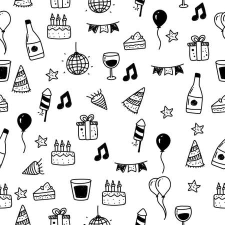 Party seamless pattern drawn in doodle style with black color. Party element doodle illustration 일러스트