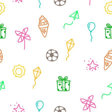 Fun theme doodle seamless pattern with colorful design suitable for background