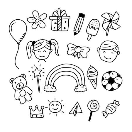 Childhood vector element draw in cute doodle style isolated on white background