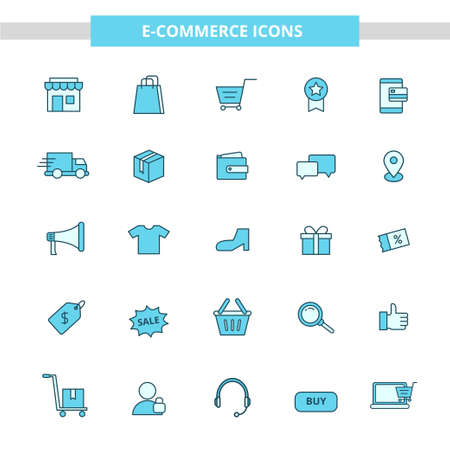 E-commerce icons collection draw in filled line design isolated on white background. Business and online shopping related icons Stock fotó - 153295689