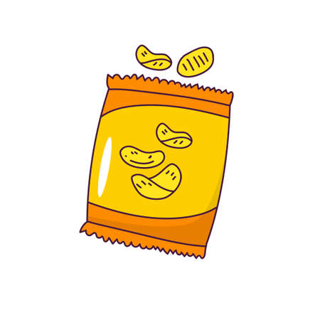 Bag of chips vector illustration in colorful hand drawn style isolated on white background