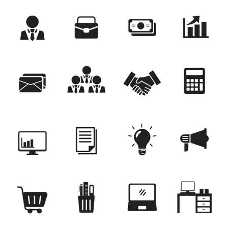 Set of business and office icon collection with black design isolated on white background Vektorové ilustrace