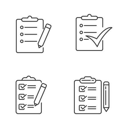 Set of to do list icon in simple line style isolated on white background
