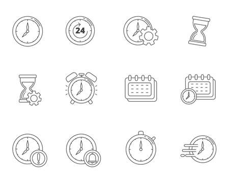 Line style of time management icon set such as clock, alarm and more, isolated on white background