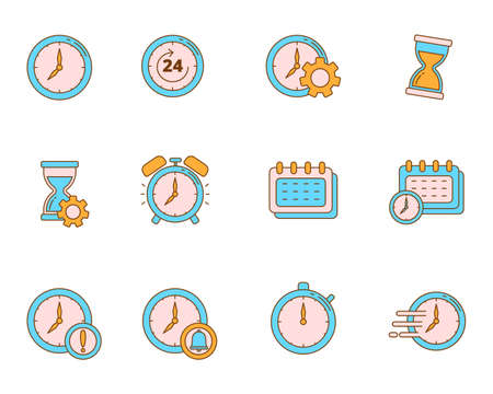 Set of clock and time vector illustration isolated on white background. Colorful linear style of time icons collection