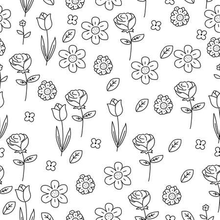 Flower doodle seamless pattern with cute design suitable for textile or background