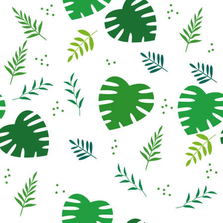 Seamless tropical leaves floral pattern with green and white color suitable for background or fabric