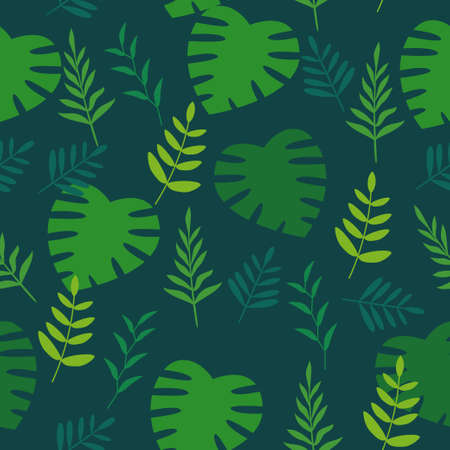 Green seamless floral pattern with tropical leaves suitable for background or textile
